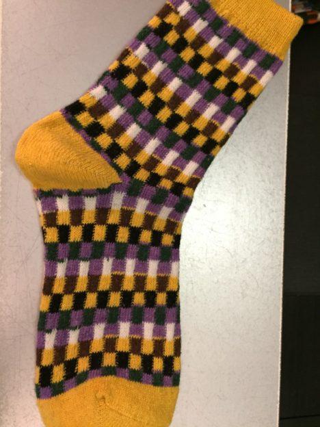 chaussette carreaux jaune